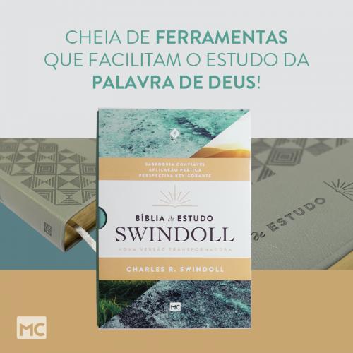 Bíblia de Estudo Swindoll capa Aqua